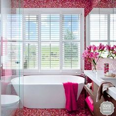 A relaxing bath in a hot pink bed of flowers. Bathroom Inspiration, Home Decor Inspiration, Relaxing Bath, Interior Decorating, Interior Design, Downstairs Bathroom, Beautiful Bathrooms, Corner Bathtub, Home And Living