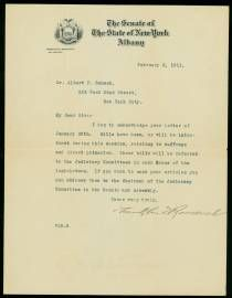Bills on Women's Suffrage and Direct Primaries before the N.Y. Legislature     FRANKLIN D. ROOSEVELT, Typed Letter Signed, to Albert Schack, New York, February 3, 1911      $1750