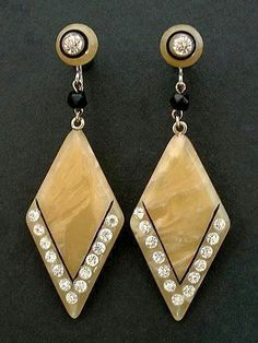 EXQUISITE Celluloid ART DECO Earrings Drops Rhinestones, French JET Beads c.1920's