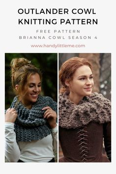 Outlander cowl knitting pattern. Make a scarf with this Outlander Brianna cowl pattern that can be doubled over to wear as an infinity scarf. Perfect for beginner knitters, the pattern uses basic knitting stitches and has been knit with large needles. Outlander patterns inspired by Brianna and Claire Fraser are available on my blog! #outlander #knitting #knittingpatterns #scarf #scarfpattern Outlander Knitting Patterns, Free Knitting Patterns For Women, Beginner Knitting Patterns, Knitting For Beginners, Knitting Stitches, How To Make Scarf, Claire Fraser, Cowl, Infinity