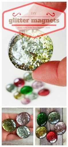 Add a little sparkle to your refrigerator with these easy DIY glitter magnets. Use Dollar Store supplies to make this simple and useful craft.