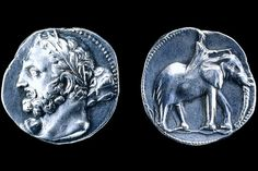 A silver double shekel minted by Hannibal's family around 230 B.C. The front depicts the Carthaginian god Melqart as Hercules and the reverse shows a war elephant. The coin was stamped in Spain, part of Carthage's larger empire [Credit: The Trustees of the British Museum/Art Resource, NY]