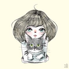 Line&ink 5 on Behance Illustration Art Drawing, Ink Illustrations, Pencil Drawings Of Love, Character Inspiration, Character Design, Watercolor Girl, Cat Drawing, Art Techniques, Cat Art