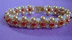 Handbeaded pearl and Swarovski crystal bracelet