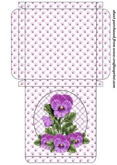 """Purple pansy card box on Craftsuprint designed by Stephen Poore - Purple pansy card box,the box measures 4.5""""x4.5""""x0.5""""aprox - Now available for download!"""