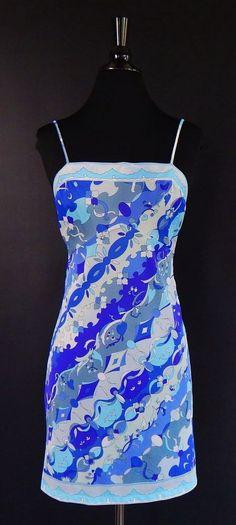 PUCCI FORMFIT ROGERS Vtg 60's Purple Blue Empire Slip Chemise Dress Size 36 #EmilioPucci