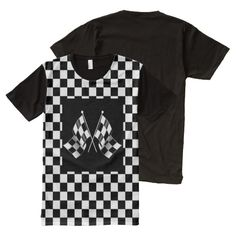 Cool Black White Formula 1 Checkered Flags Pattern Tank Top. Auto racing flags on black and white checkerboard background. Trendy tank-top design for the fun, hip and trendy man who is a fanatic car sport, Nascar, Indy 500, Le Mans or Formula One Grand Prix racing fan. Makes for a perfect Father's Day gift!