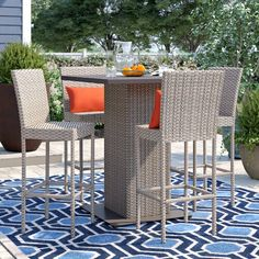 Sol 72 Outdoor™ Rockport 5 Piece Dining Set with Cushions & Reviews | Wayfair Wicker Dining Chairs, Patio Dining, Outdoor Dining, Outdoor Decor, 3 Piece Bistro Set, 3 Piece Dining Set, Dining Sets, Pub Table Sets, A Table