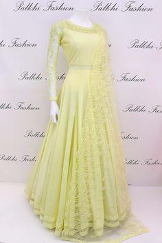Light Lemon Yellow Soft Silk Handwork Outfit