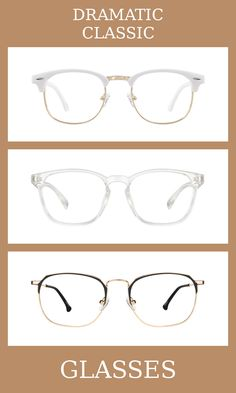 3 Pairs of Glasses for the dramatic classic body type, one of thirteen Kibbe body types. Dramatic classics are a blend of femininity and masculinity, but slightly more masculine than classics.   The glasses that suit them the most are minimal, slightly angular, and elegant.   Learn more about the Kibbe body types at cozyrebekah.com