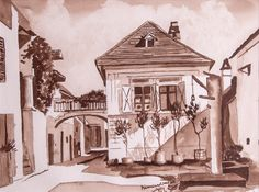 House 2 Mörbisch Watercolor on paper House 2, Watercolor, Paper, Painting, Art, Watercolor Painting, Painting Art, Paintings, Kunst