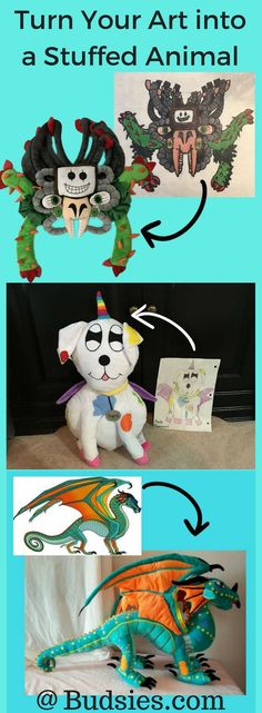 Turn any drawing into a stuffed animal, from kid's doodles to original characters and designs. Each plush is handmade to look just like your artwork. Have any artists in your life that would love this as a gift? Do you want to turn your own fav character into a custom plush? Visit www.budsies.com to get started!