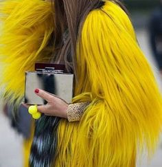 Yellow fur coat, need this for next year!