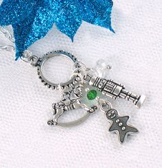 FREE SHIPPING  Silver Christmas Charm Necklace