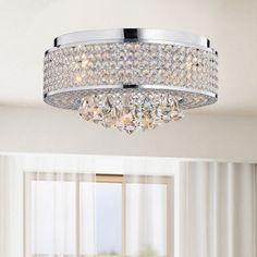 For the Piano Room??             Francisca 4-light Round Chrome Flush Mount Chandelier - Overstock™ Shopping - Big Discounts on Otis Designs Flush Mounts