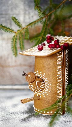 cute round gingerbread cookie bird house design decorated with royal icing, a holiday baking idea Christmas Goodies, Christmas Desserts, Christmas Treats, Winter Christmas, Christmas Time, Christmas Gingerbread House, Gingerbread Cookies, Christmas Cooking, Pavlova