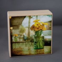 Gold Yellow Blue Floral Photograph on Wood by Ketzelphotography, $18.00