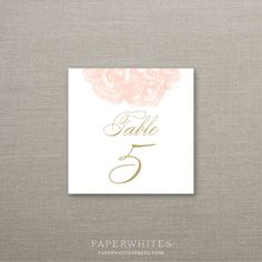 Peony Blossom Wedding Table Numbers Deposit to by paperwhitespress, $25.00