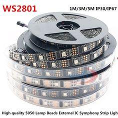 LED WS2801 32leds/m 5050 RBG DC5V 1M/3M/5M IP30IP67 Decoration Addressable LED Waterproof Strip Arduino development ambilight TV