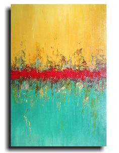 Original Large Abstract painting 24 X 36 by por JMJARTSTUDIO
