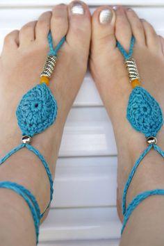 Barefoot, sandalias de pues descalzos...hechas a Crochet.