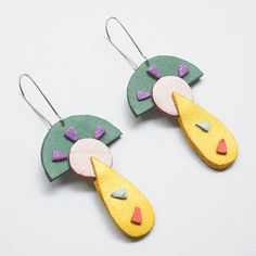 On the rock statement leather earrings funky earrings