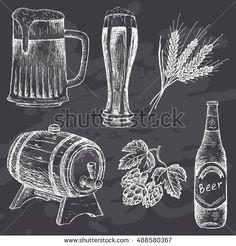 Beer set for design menu. Vintage beer on chalk board background. Hand drawn vector illustration.