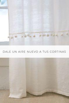 Dale un aire nuevo a tus cortinas. Gracias a los pompones (borlas o madroños). Customiza tus cortinas para aportar color. #decorarconcolores Curtains, Interior Design, Bedroom, Home Decor, Baby, Sewing Projects, Home Organization, Tela, Velvet Curtains