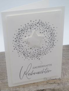 """handmade Christmas card from creative depot using """"Christmas Star Wreath"""" . Stampin Up Christmas, Christmas Tag, Handmade Christmas, Christmas Crafts, Diy Christmas Wedding, Anniversary Crafts, Stampin Up Weihnachten, Star Cards, Winter Cards"""