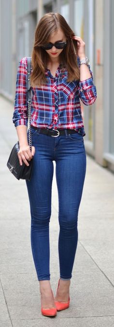Plaid Shirt Denim Skinnies by Vogue Haus   Women's Fashion   Fall Casual Outfit   www.designerclothingfans.com