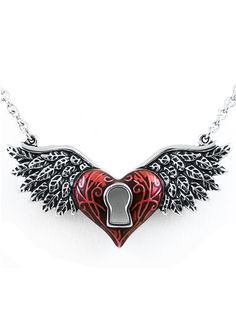 """""""Winged Heart"""" by Controse (Silver/Red) #inkedshop #inked #wingedheart #necklace #vday"""