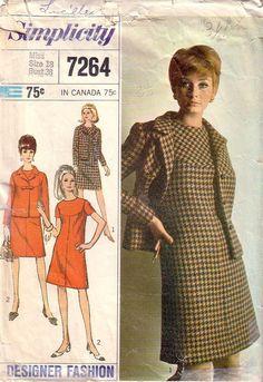 VTG Simplicity 7264 Dress and Jacket Size 18 , c.1967