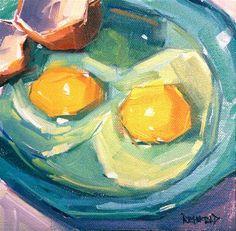 "Daily Paintworks - ""Breakfast Eggs"" - Original Fine Art for Sale - © Cathleen Rehfeld"