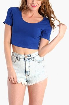 LoveMelrose.com From Harry & Molly | Basic Crop Top - Blue