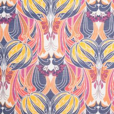 Liberty of London Kate Nouveau Blue/Orange/Pink/Yellow Silk-Cotton Voile Fabric by the Yard | Mood Fabrics