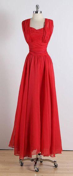 Vintage 1940s Emma Domb Red Chiffon Party Dress