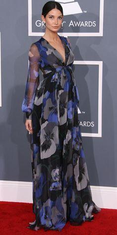 Pregnant Lily Aldridge grammy awards arrivals 18 130212