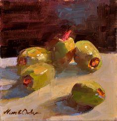 """Olives   oil  6"""" x 6"""", Aline E. Ordman"""