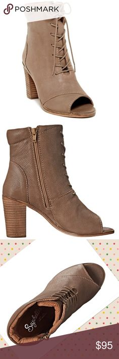 """Seychelles Stun Bootie featured in Anthropologie Stun when you step out in these fab boots! Rich Supple Taupe leather booties have front laces and inside zip closure for easy on and off with an open toe silhouette. Lightly cushioned footbed makes a world of difference. Man-made lining. Stacked heel. Durable leather sole.  Measures: 3"""" heel height; 12 oz; 6.5"""" shaft  Brand: Seychelles Anthropologie Shoes Ankle Boots & Booties"""