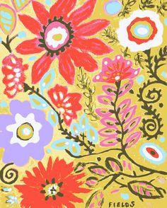 Golden Flowers   Print by Karen Fields 11 x by karenfieldsgallery, $18.00