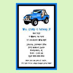 Jeep themed invite...