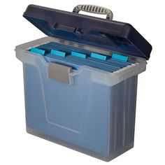 Office Depot® Brand Small Mobile File Box, Letter Size, Clear/Blue