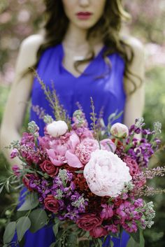 Bohemian Summer Inspired Pink Bridal Bouquet by Charuk Studios
