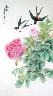 Swallows with peonies