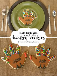 These Handprint Turkey Cookies are the perfect dessert recipe and tasty place card for the kids' table on Thanksgiving Day! Add a little fun to your holiday tablescape with this kid-friendly cooking idea.