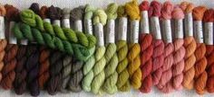 Renaissance Dyeing- the Elizabethan range -naturally dyed with recipes from the 16 century.