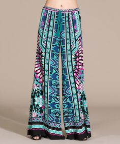 Look what I found on #zulily! Teal & Purple Geometric Palazzo Pants by Flying Tomato #zulilyfinds