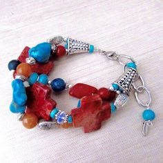 Chunky Southwestern Style Gemstone Bracelet by Raziela Designs