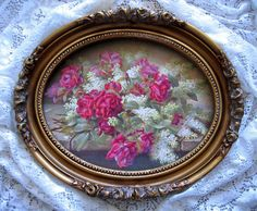 Cabbage Roses Lilacs Print Raoul de Longpre Fancy Oval Barbola Rose Frame Offered by Victorian Rose Prints on Ruby Lane