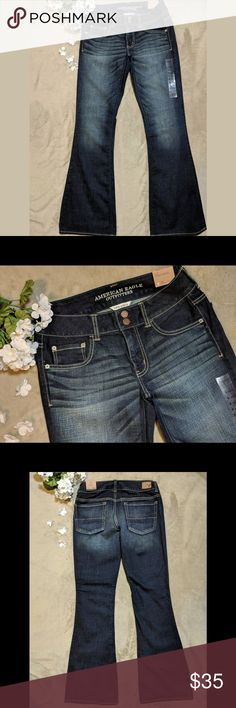 """American Eagle Artist Super Stretch Jeans New sz 6 American Eagle Artist Super Stretch Jeans in the color wash Perfect Night. Dark wash with sanding and whiskering Two button and zipper closure 5 pocket styling Flare 99% cotton, 1% elastane Size 6 Reg Brand new with tags Measurements are approximate and taken with the jeans lying flat: Waist 15"""" Rise 8"""" Inseam 32 1/2"""" Leg opening at bottom 10"""" American Eagle Outfitters Jeans Flare & Wide Leg"""